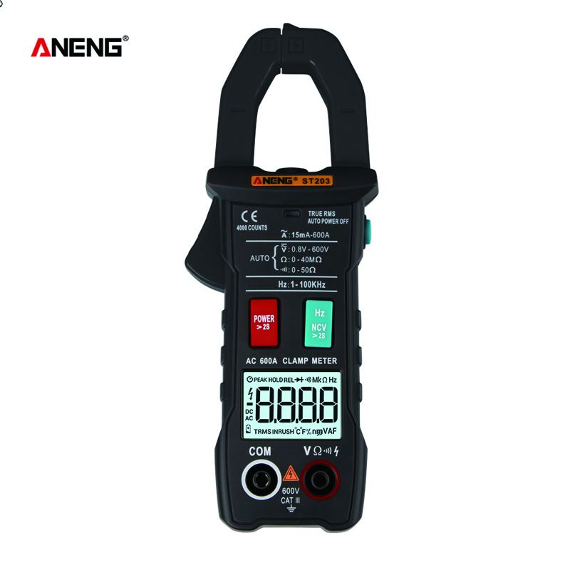 Mini Digital Clamp Meters AC/DC Current Voltage True RMS Auto Range Capacitance Non Contact Multimeter Tester <font><b>ST203</b></font> image