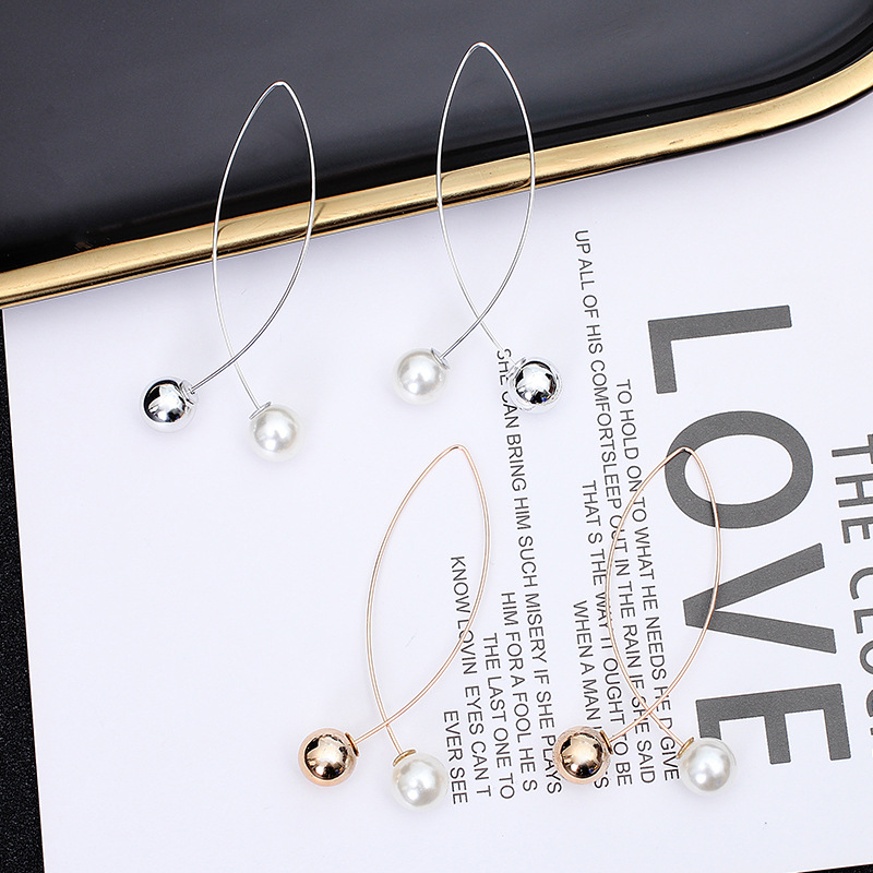Fashion Korean Version Of The New Jewelry Fork-shaped Pearl Long Earrings Creative Wild Simple And Generous Temperament Earrings
