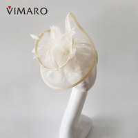 1pc Sinamay Fascinator Girl Women Wedding Headdress Hairbands Princess Elegant Female White Headdress Hair Hoop
