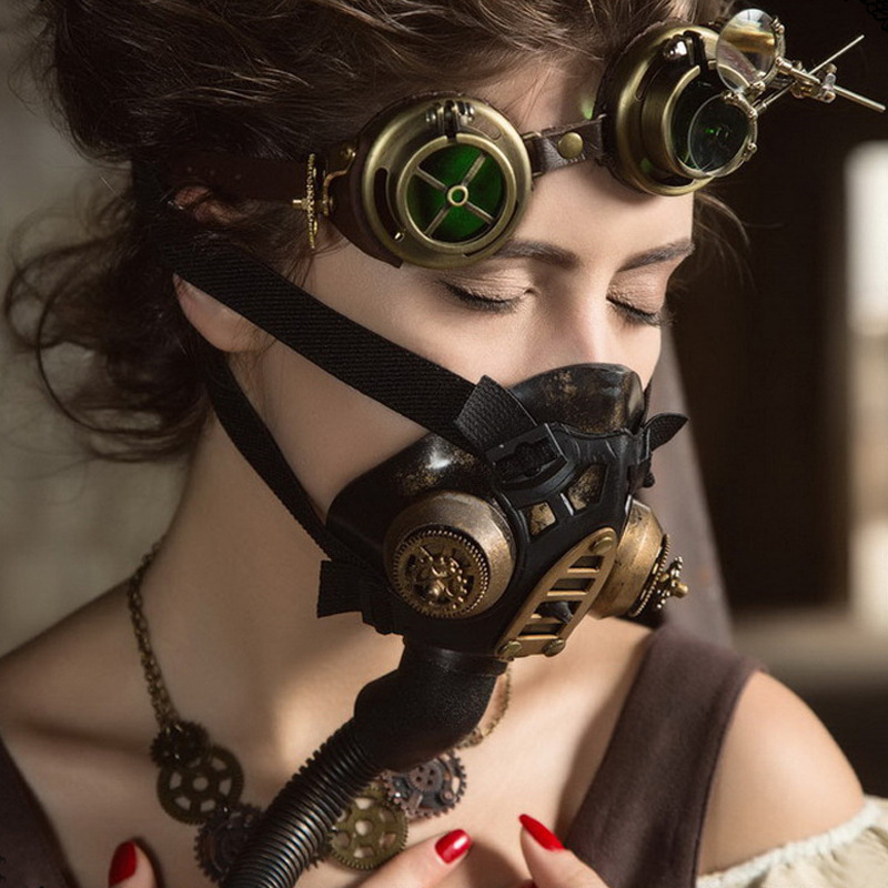 Steampunk Halloween Women Gas Mask Bar Dance Party Mask Halloween Cosplay Shooting Props