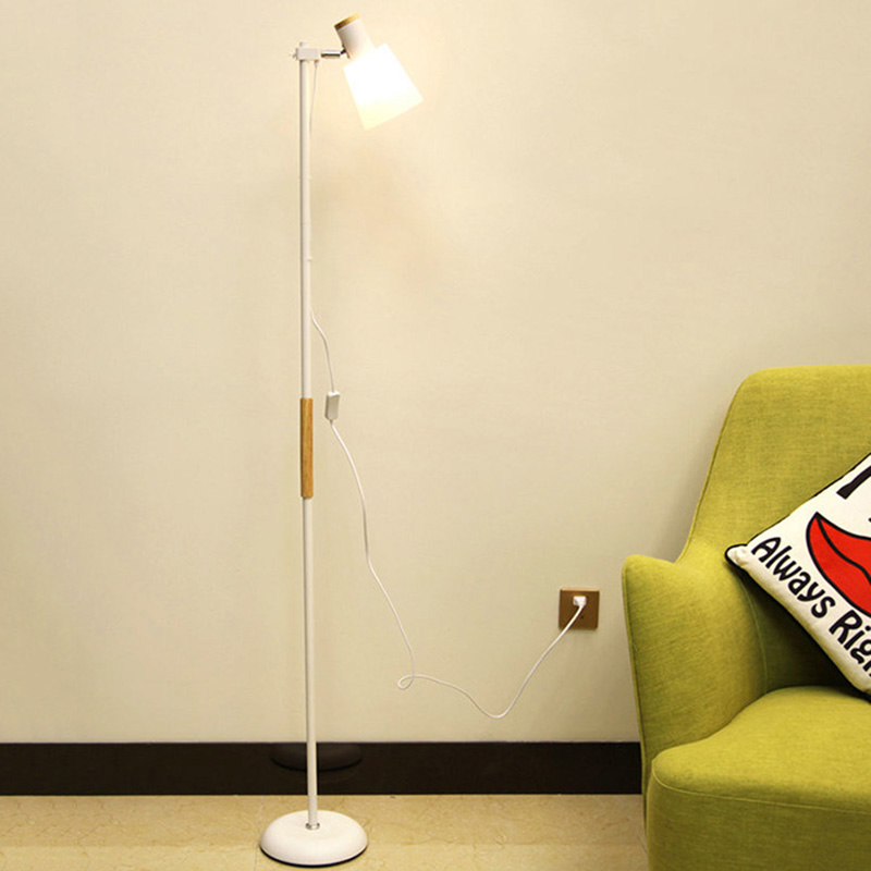 Simple Modern Wood LED Floor Lamp For Living Room Bedroom 220 V Nordic Style Stand Lamps Creative Decorative Bedside Lamp american solid wood floor lamp room bedroom bedside floor lamps in simple vertical style hotel room lamp bedside lamp lights