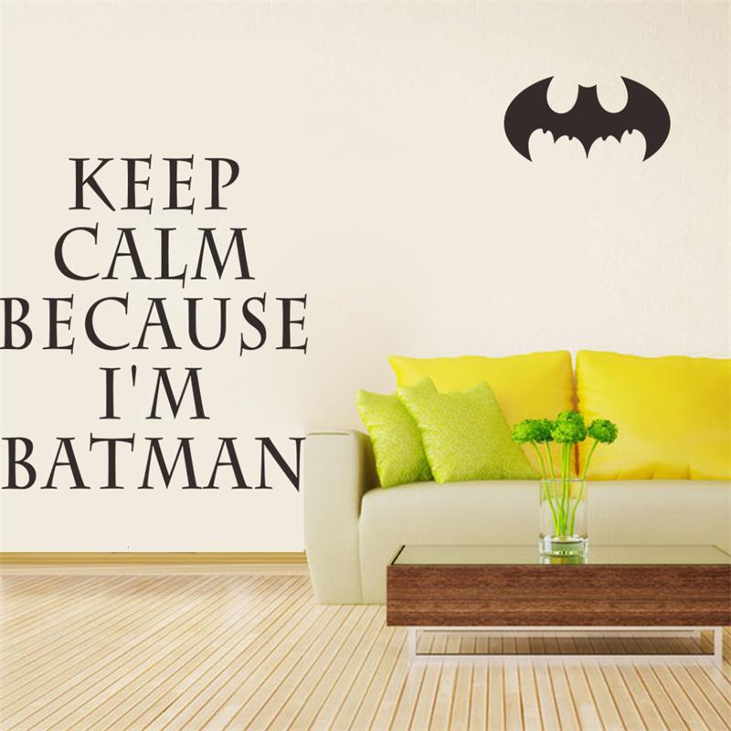 Keep Calm Because I\'m Batman Quotes Wall Stickers for kids rooms ...