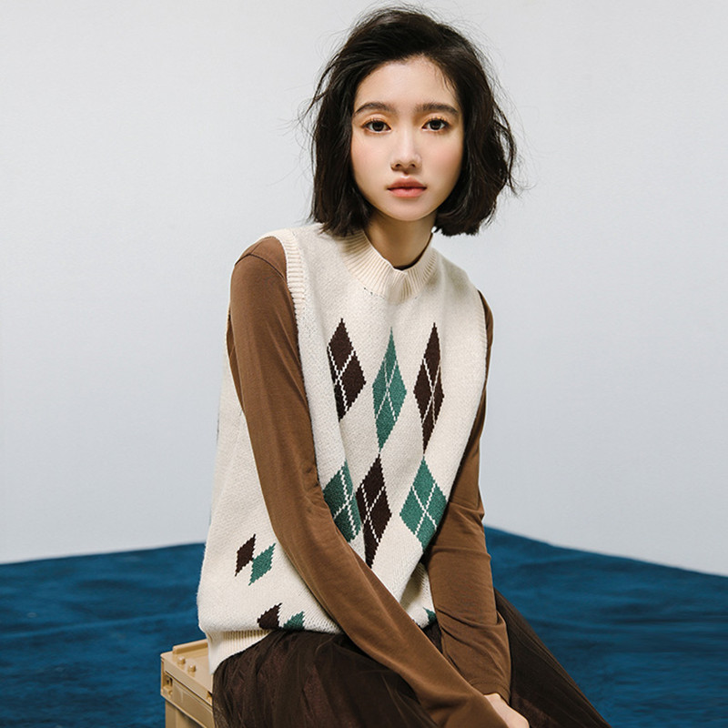 Primavera otoño mujer suéteres sin mangas escuela estilo preppy ...