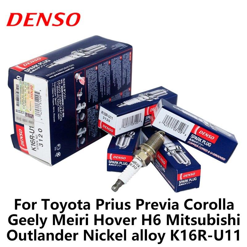 4 teile/los DENSO Auto Zündkerze Für Toyota Prius Previa Corolla Geely Meiri Hover H6 Mitsubishi Outlander Nickel legierung K16R-U11