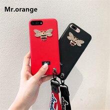 Фотография Mr.orange Soft 3D DIY Gold Bee Case Cover For Apple iPhone 7 7 Plus 6 6S Plus Case Silicone 7 Series Luxury Retro Case For Phone