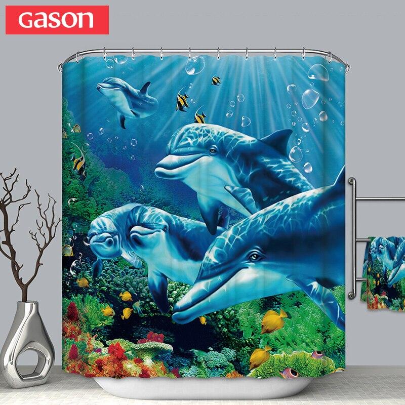 GASON salle de bains rideau qualité naturel polyester imperméable 2 m tissu 3D marine vie simple rideau de douche salle de bains rideau