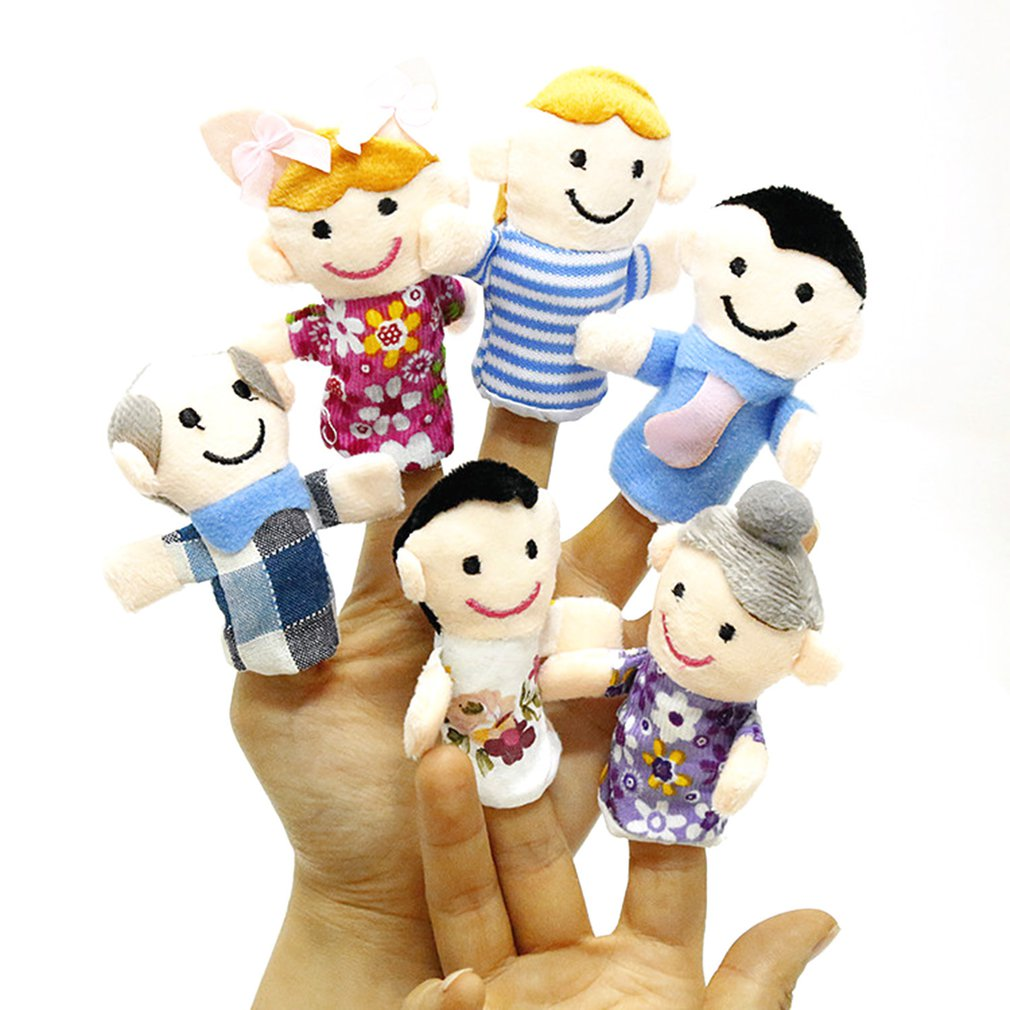Educational-Toy Best-Gift Baby Kids Family Story-Finger-Puppets 6-People Members