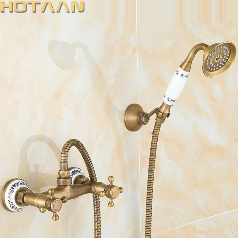 Free shipping Antique Brass Bathroom Bath Wall Mounted Hand Held Shower Head Kit Shower Faucet Sets