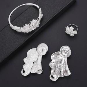 Image 5 - Luxe Blad Dubai Sieraden Set Voor Vrouwen Mode sieraden Bruiloft Ketting Oorbellen Armband Ring Sieraden Set Parure Bijoux Femme