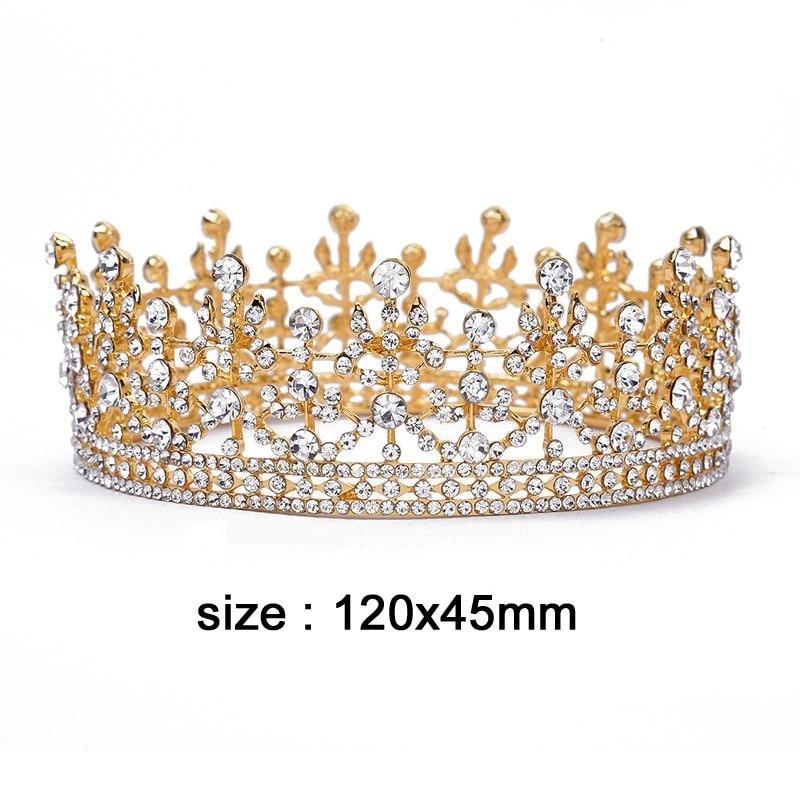 Gold Royal Princess Rhinestone Sweet 16 Quinceanera Bridal Tiara Headpiece