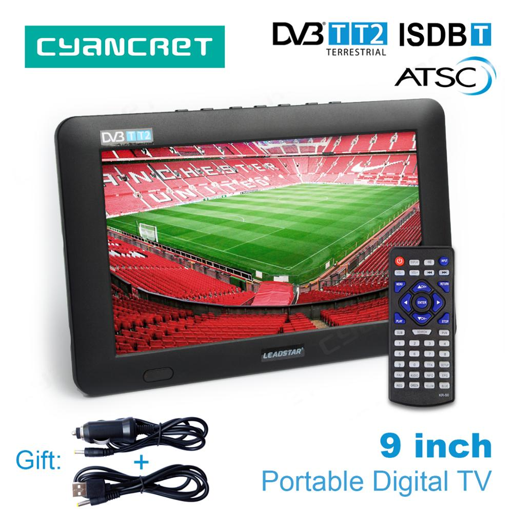 LEADSTAR 9 inch Portable TV DVB-T2 ATSC ISDB-T Digital and Analog mini small Car Television Support USB TF Card PVR MP4 AC3