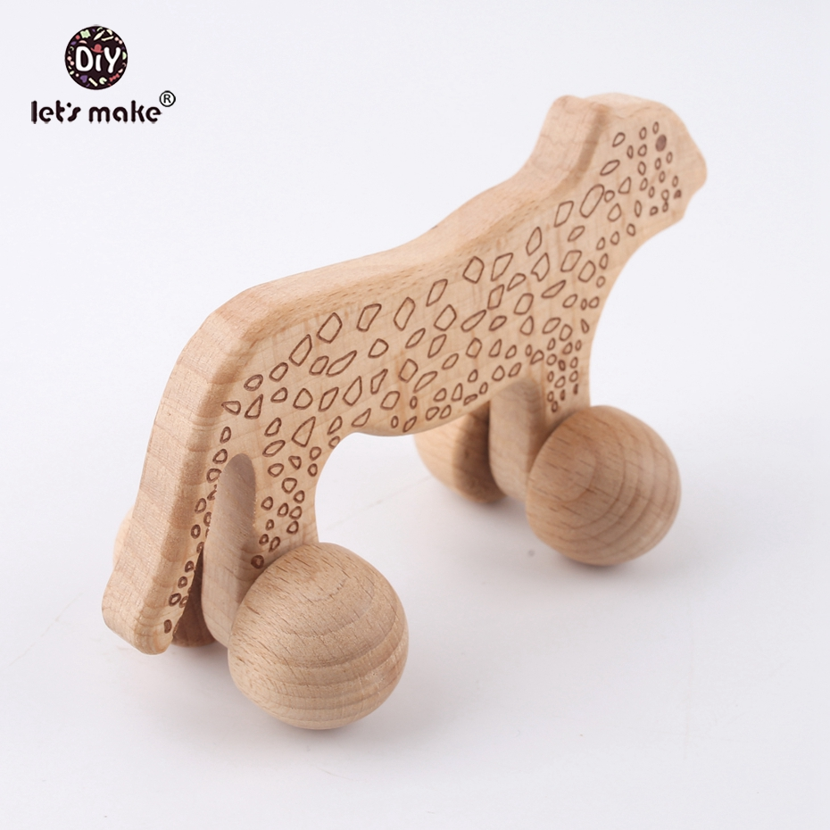 Let's make Cheetah Beech Wooden Animals Leopard Car 2pcs Cartoon Montessori Toy For Children Teething Car Seat Stroller Baby Toy