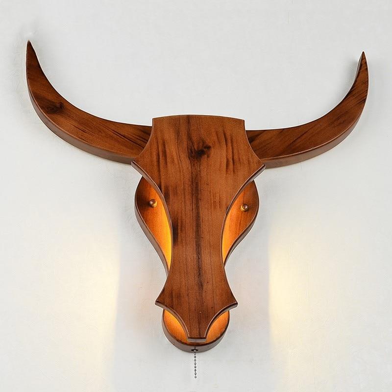Loft Retro Soild Wood Led Wall Lamp Art Creative Cow's Head Living Room Decoration Light Restaurant Aisle Designer Light недорого