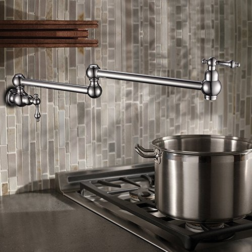 Wall Mounted Brass single cold Pot Filler faucet tap  Double Joint Spout Chrome Wall Mounted Kitchen Faucet the ivory white european super suction wall mounted gate unique smoke door