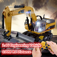 New Update Version 2.4G 14CH 1:16 Scale RC Construction Metal Excavator Engineering Vehicle Toy Alloy Power With Cool Lighting