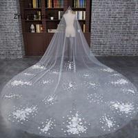 ZYLLGF Bridal New Lace Wedding Accessories Velos De Novia 2017 Largos Elegant Bridal Veil With Flowers Free Shipping BV30