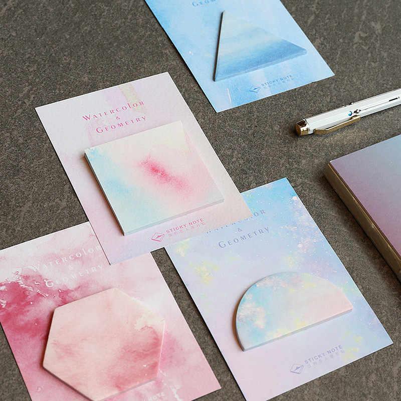 Aquarela conjunto 1 Fantástico Geométrica Auto-Adesivo Memo Pad Sticky Notes Bookmark Presente de materiais de Escritório Da Escola