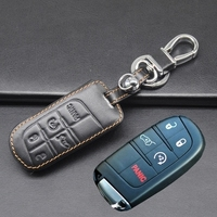 5 Button Leather Car Key Cover Key Holder For JEEP Grand Cherokee Dodge JCUV Dart Journey