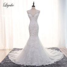 Liyuke Mermaid Wedding Dress Sleeveless Bride Dresses
