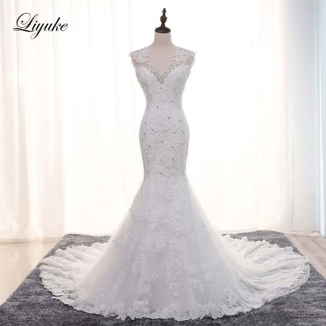 5322ab15dab3 Luxurious Embroidery Tulle Sweetheart Mermaid Wedding Dress Sleeveless  Marvelous Beaded Crystals Appliques Elegant Bride Dresses-in Wedding Dresses  from ...