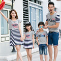 Couple Family Matching Outfit 2016 Summer New Family Clothing Embroider Kiss Short Sleeve T-Shirt  Mother Daughter Dresses