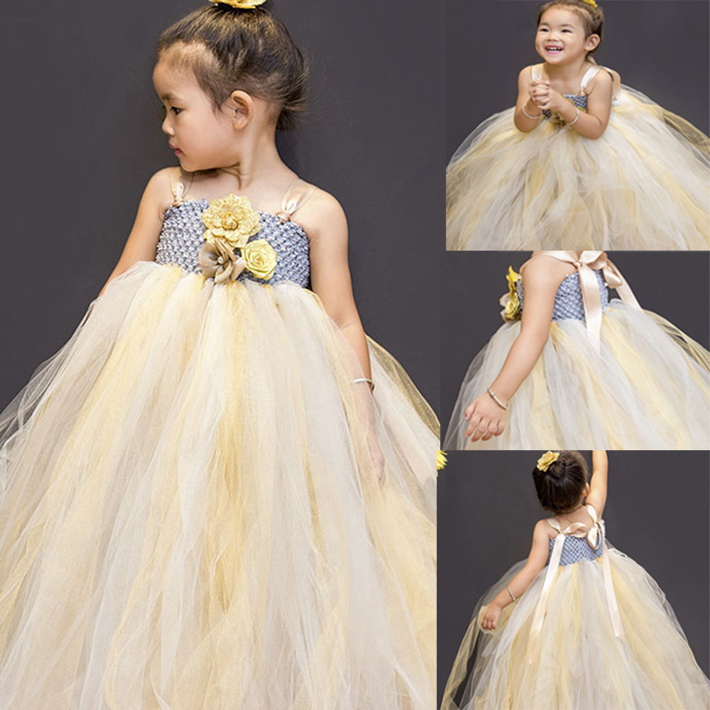 Champagne Flower Girl  Bridesmaid Tutu Dress Kids Fluffy Gold Tulle Pageant Wedding Tutus Dresses Children Photo Props Clothes handmade tulle flower girl dress princess flower tutu dresses children kid baby pageant bridesmaid wedding party formal dresses