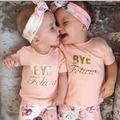 100% Brand New Summer Style 3pcs/set Baby Girls Clothing Set Letter Printed Short Sleeve Shirt + Floral Printed Pants + Headband
