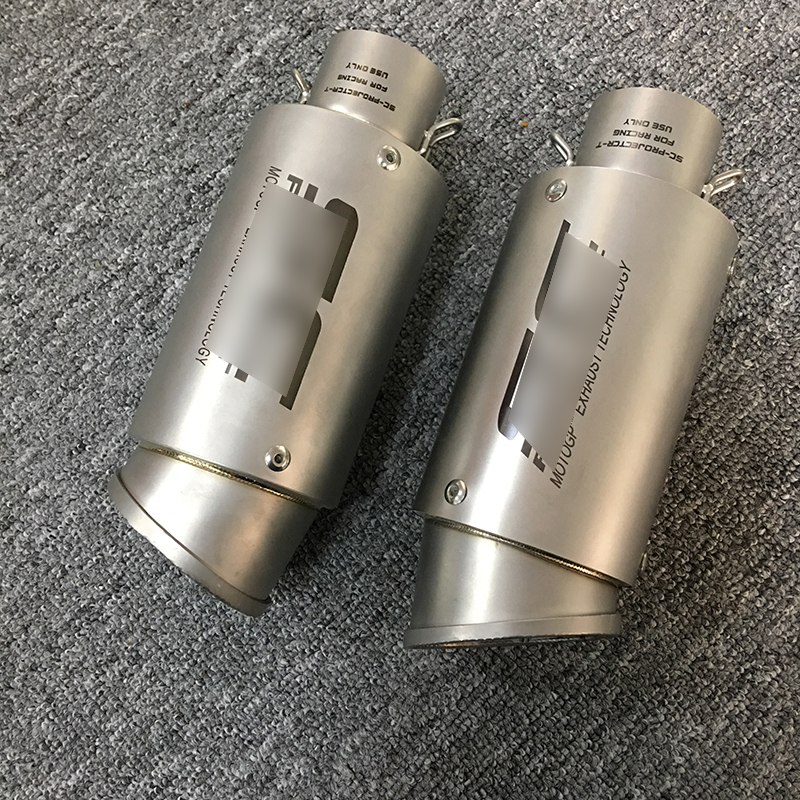 Motorcycle Exhaust System Pipe Muffler Tail Right And Left 51mm Universal Stainless Tube Steel Motorbike Modified