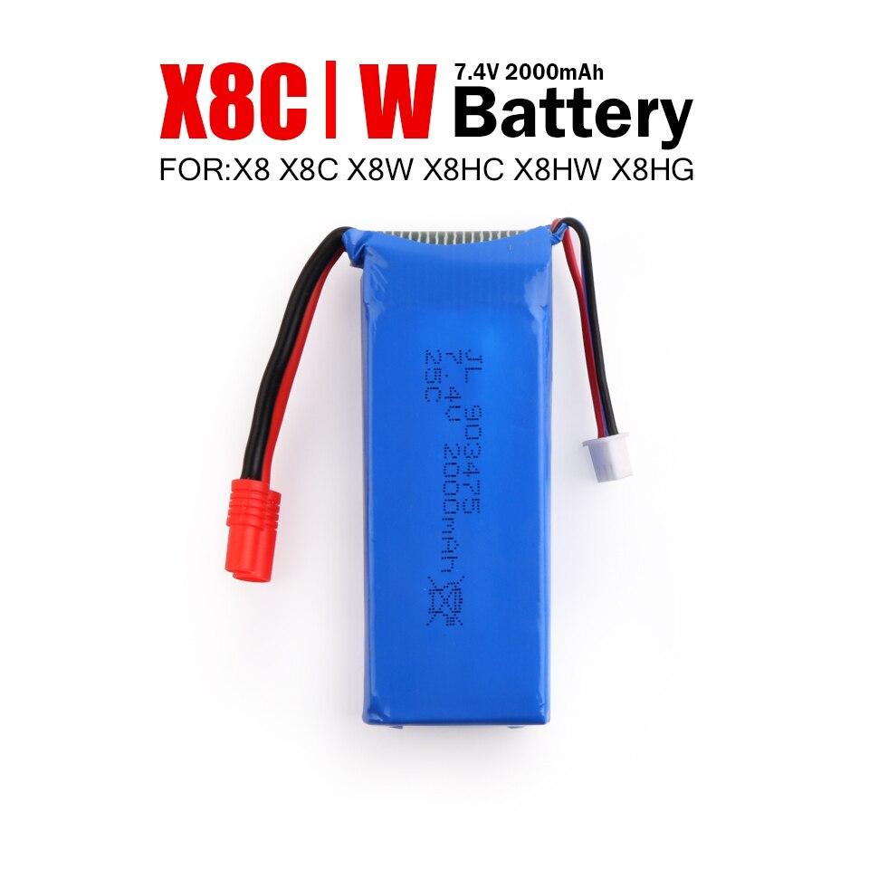 Syma X8 X8C X8W X8G X8HW RC Quadcopter Battery Ultra-high Capacity 7.4V 2000mAh T/Banana Plug Upgrade Lipo Battery Spare Parts 7 4v 2500mah syma x8c x8w x8g quadrocopter high capacity model aircraft rechargeable lipo battery 7 4v 903472 no 2 plug