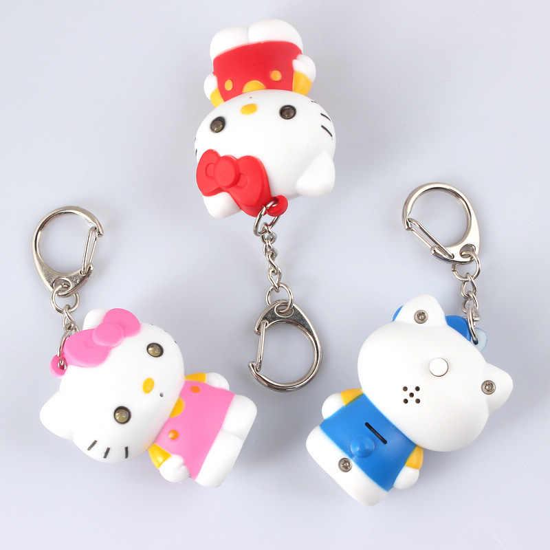 """Dizer """" eu te amo """" olá Kitty LED Keychain com som, Chaveiro bolsa charme pingente de lanterna brinquedo, Presente para amantes"""