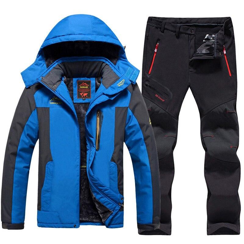 Grande taille hommes Ski costume imperméable polaire vestes et pantalons extérieur Snowboard neige veste épaissir chaud hommes Ski randonnée manteau