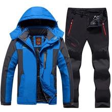 цены на Plus Size Men Ski Suit Waterproof Fleece Jackets and Pants Outdoor Snowboard Snow Jacket Thicken Warm Men Skiing Hiking Coat  в интернет-магазинах