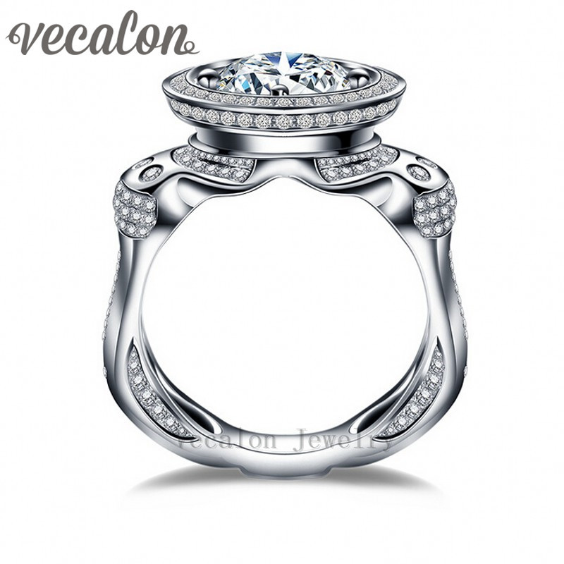 vecalon luxury engagement wedding band ring for men 3ct 5a zircon 220pcs small cz 925 sterling - Small Wedding Rings