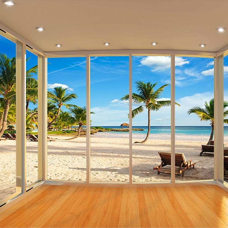 Custom Photo Wallpaper 3D Window Natural Landscape Large
