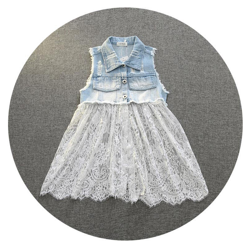Everweekend Girls Denim Ripped Lace Vests With Removable Lace Patchwork White and Black Color Sweet Children