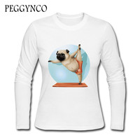 2017 PEGGYNCO Funny Dog Print T Shirt Women S Long Sleeve Cute Tops Tees