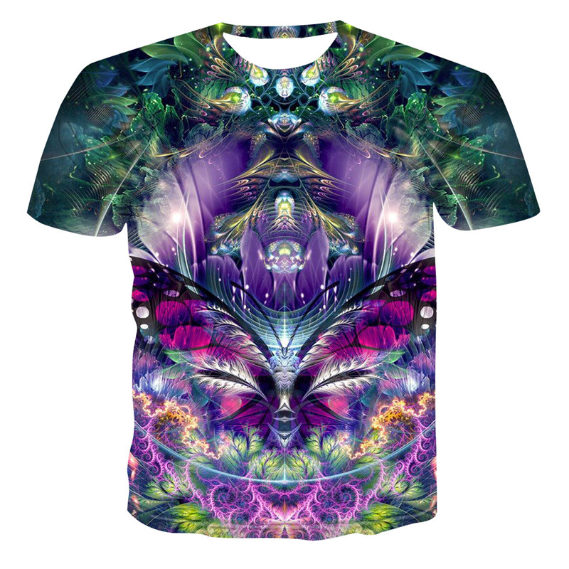 2019 New Summer Style Mens   T  -  Shirt   Colorful Galaxy Space Psychedelic Floral 3D Print Women/Men   T     Shirt   Hip Hop Casual Tees Tops