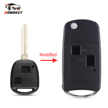 Dandkey 2 Buttons Folding Flid Car Key Shell For Toyota Camry Avalon Corolla Echo Rav4 2002-2005 Fob Uncut Blade Key Shell