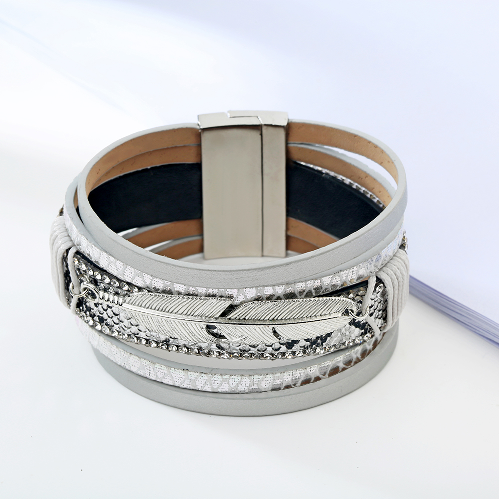 17 Fashion Alloy Feather Leaf Wide Magnetic Leather Bracelets & Bangles Multilayer Wrap Bracelets for Women Men Jewelry 8
