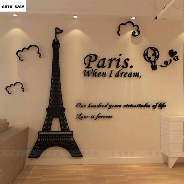 Ufficio Parigi Torre Acrilico 3D Adesivi Murali Soggiorno Divano Comodino  Sfondo Muro Adesivi murali carta da parati Decorativi FAI DA TE