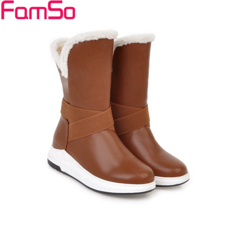 FAMSO Size 34-43 2017 New Shoes Women Boots Heels Mid-Calf Riding Boots Winter Russia Waterproof  Full Fur Snow Boots For Casual double buckle cross straps mid calf boots