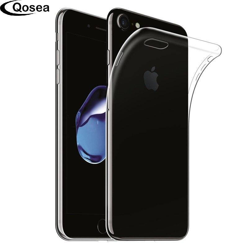 Qosea для <font><b>iphone</b></font> 8 Plus Ultra Clear Прозрачный тонкий силиконовый мягкой кожи ТПУ для iphonex x 7 защитная телефон задняя крышка