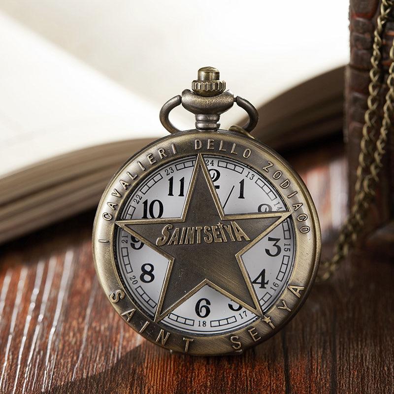 Unique Hollow Bronze Saint Seiya Design Quartz Pocket Watch Pendant Necklace Chain Children Halloween Gifts Reloj De Bolsillo
