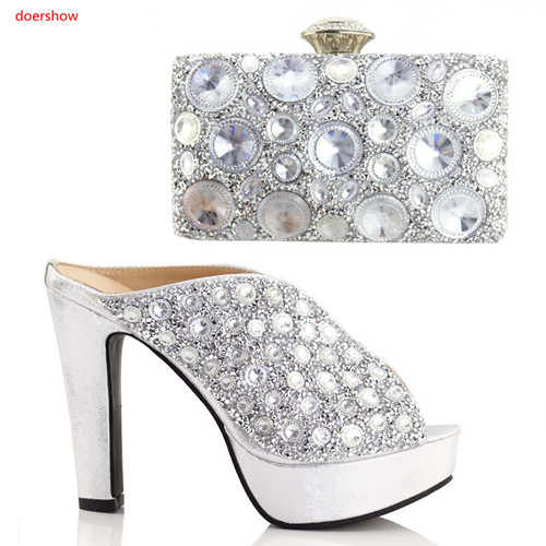 doershow Latest silver Italian Ladies Shoes And Bags To Match Set African Rhinestone Matching Shoes And Bag Set For part SAA1-21 doershow high quality italian shoe and bag to match women shoes african party shoes and bag set green with rhinestone kh1 3