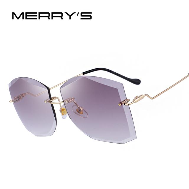 Gafas de sol diseño clásico sin montura lente gradiente 100% protección UV