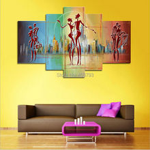 Contemporary European Human Abstract Composition Landscape Art Modern Oil Painting On Canvas Home Decor 5 panels