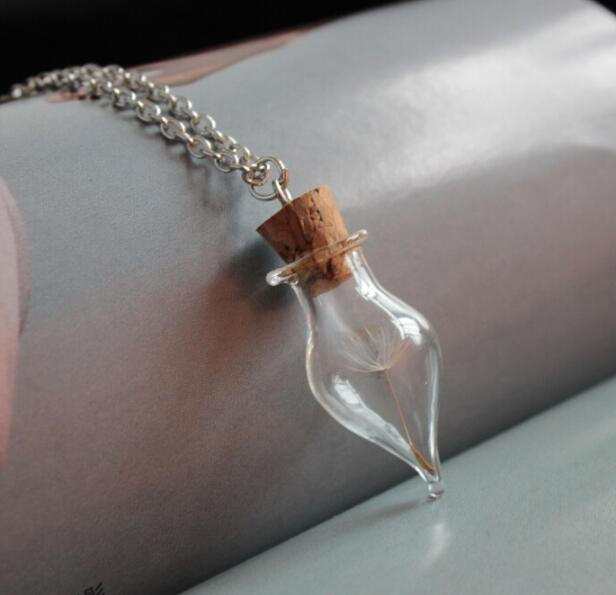 20pcs  Dandelion  Dry Flower Water Drop Glass Vial Necklace Glass - Fashion Jewelry - Photo 4