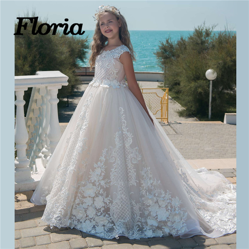 Fancy First Communion   Dresses   For   Girls   Arabic New   Flower     Girl     Dresses   For Weddings Kids Pageant Gowns 2018 Vestidos daminha
