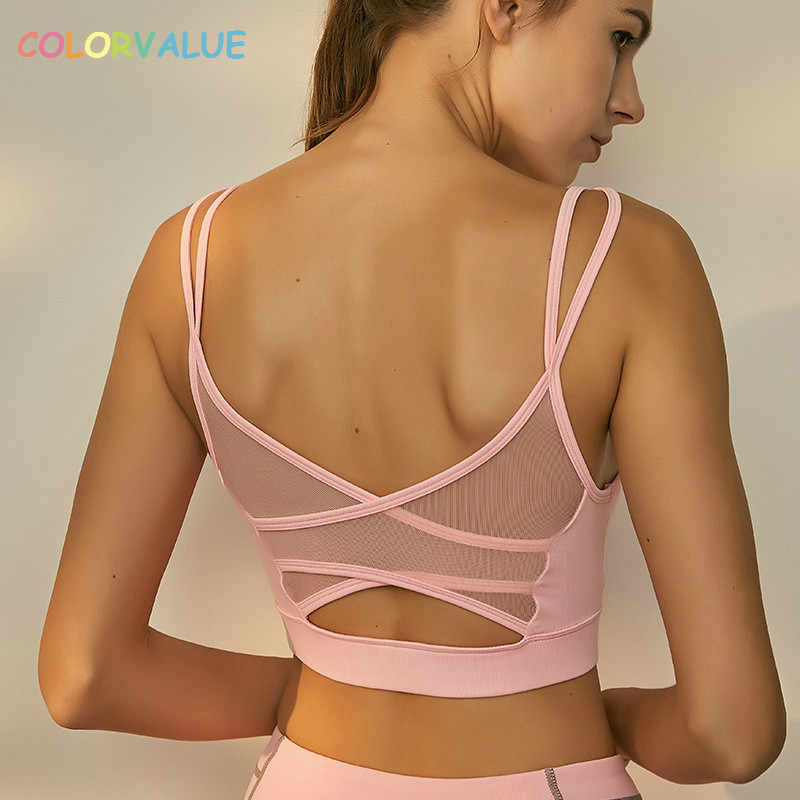 9750a0920d Colorvalue Sexy Backless Fitness Yoga Bra Women Breathable Mesh Running  Jogger Sport Brassiere Padded Athletic Workout