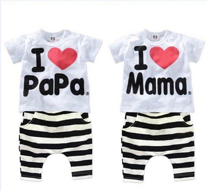 Perakende yeni yaz çocuk giyim grubu erkek ve kız seviyorum anne ve - Çocuk Giyim - Fotoğraf 4
